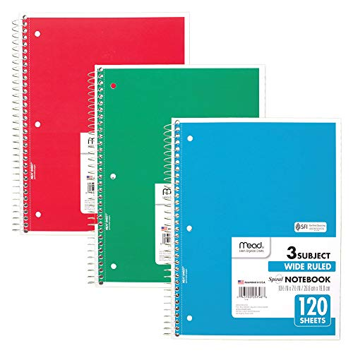 Mead Spiral Notebooks, 3 Subject, Wide Ruled Paper, 120 Sheets, 10-1/2'' x 7-1/2'', Red, Green, Blue, 3 Pack (73179) by Mead