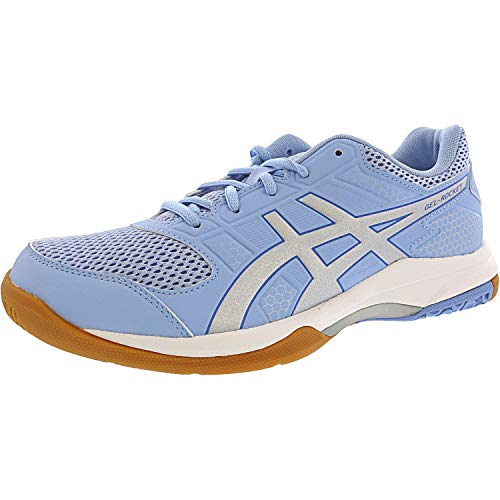 ASICS Womens Gel-Rocket 8 Volleyball Shoe, Airy Blue/Silver/White, 8.5 Medium US ()