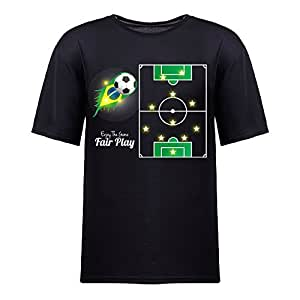 Brasil 2014 FIFA World Cup Theme Short Sleeve T-shirt,Football Background Mens Cotton shirts for Fans