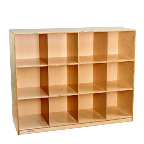 Childcraft 1464173 Mobile Mini Storage Locker, 12-Cubby, Wood, 51-1/2'' x 16-7/8'' x 42'', Natural Wood Tone by Child Craft