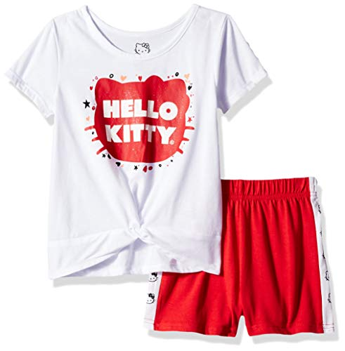Hello Kitty Girls Short Set with Embellished Fashion Top