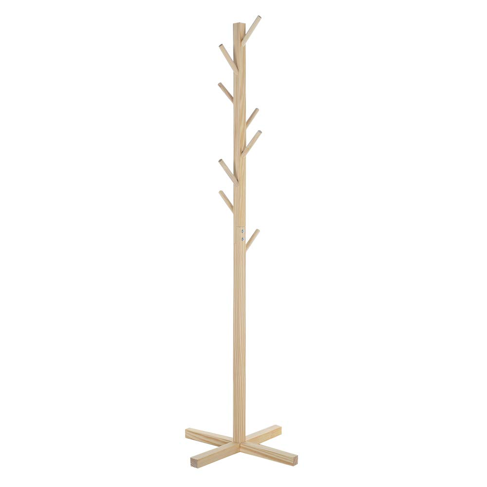 Premium Wooden Coat Rack Free Standing, with 8 Hooks Lacquered Pine Wood Tree Coat Rack Stand for Coats, Hats, Scarves, Clothes, and Handbags (Natural)