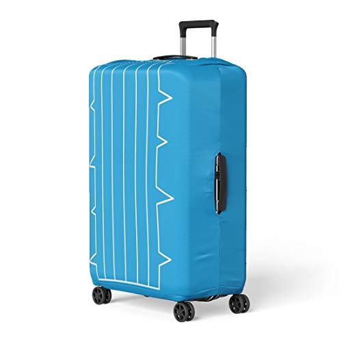 Price comparison product image Pinbeam Luggage Cover Arid Cacti Blue Outline Thin Line Sign Botanical Travel Suitcase Cover Protector Baggage Case Fits 18-22 inches