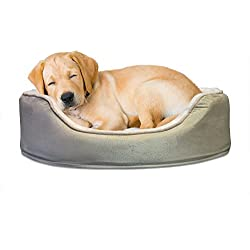 Furhaven Pet NAP Pet Bed Orthopedic Oval Egg-Crate Lounger Dog Bed or Cat Bed, Medium, Clay