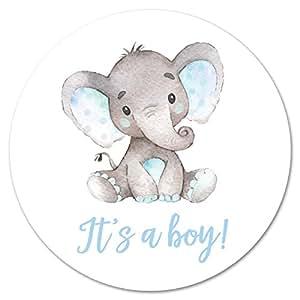 Amazon.com: 60 cnt It's a Boy Elephant Stickers (Blue ...
