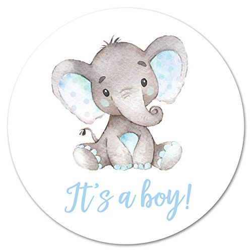60 cnt It's a Boy Elephant Stickers (Blue)