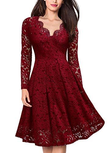 MISSMAY Women's Vintage Floral Lace V-Neck Cocktail Formal Swing Dress X-Large Red