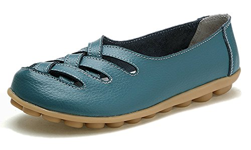 Eagsouni Women's Leather Loafers Moccasins Casual Flat Boat Shoes Cut Out Driving Sandals Blue