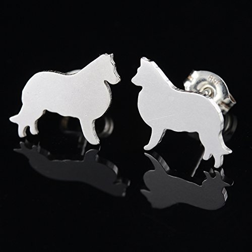 - Border Collie or Sheltie Sterling Silver Silhouette Earrings