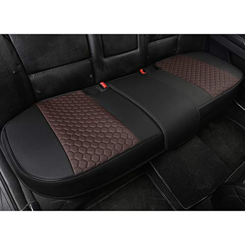 Black Panther Luxury PU Leather Rear Car Seat Cover Adjustable Length (49-55'') Back Seat Protector Fits 90% Vehicles (Sedan SUV Truck), for Seat Bottom Only,Honeycomb Pattern, Mixed Chocolate