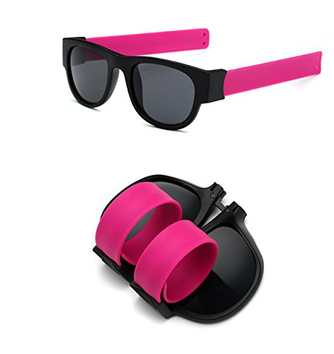 Foldable Sunglasses Polarized Lenses Flexible Silicone Frame and Temples with a Case - Sunglasses Foldable