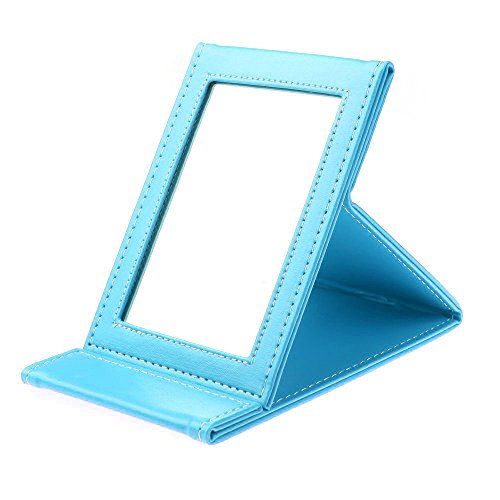 Coolrunner 1Pcs Foldable Portable Leather Makeup Mirror Women Beauty Cosmetics Mirror (Blue)