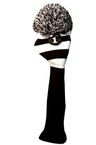 MAJEK #1 460cc Driver Black & White Golf Headcover Knit Pom Pom Retro Classic Vintage Head cover