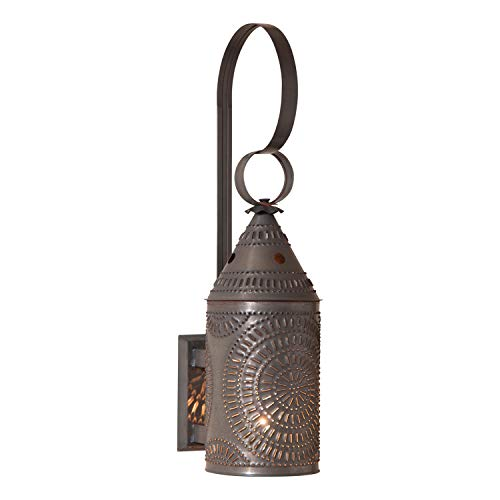 (Irvin's Tinware 15-Inch Electrified Wall Lantern in Blackened Tin)