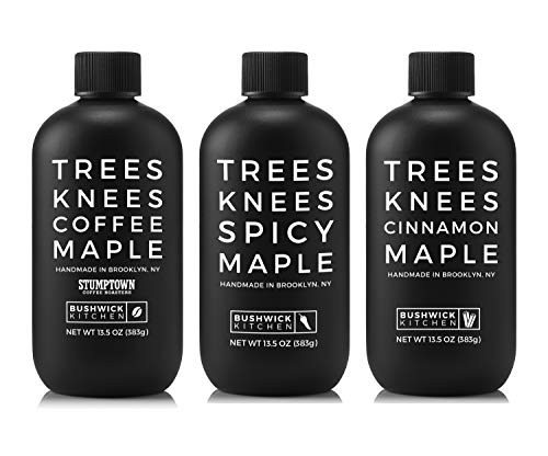 Bushwick Kitchen Trees Knees Maple Trio Sampler, Gift Set Includes Spicy Maple, Coffee Maple, and Cinnamon Maple Syrups