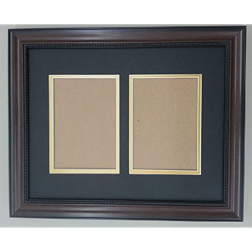 16x20 walnut brown beaded frame with black gold double picture mat for 2 8x10 pictures - Dual Picture Frame