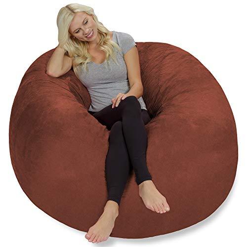 Bag Suede Faux Bean Lounger - Chill Sack Bean Bag Chair: Giant 5' Memory Foam Furniture Bean Bag - Big Sofa with Soft Faux Linen Cover