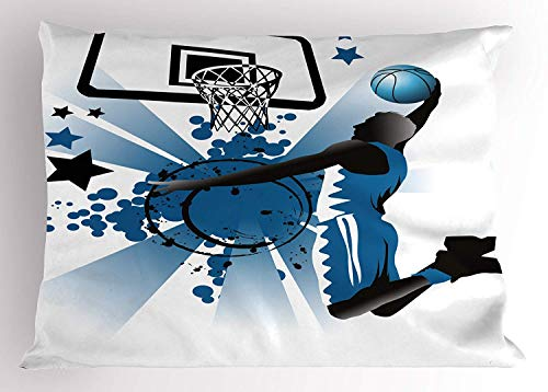 TYANG Teen Room Decor Pillow Sham, Silhouette of Basketball Player Jumping Success Stars Illustration, Decorative Standard Queen Size Printed Pillowcase, 30 X 20 inches, Black Violet Blue ()