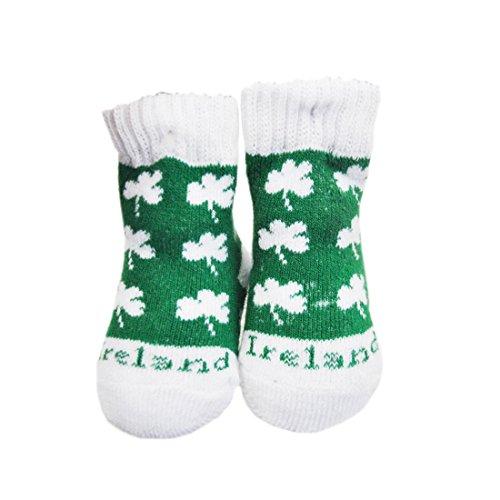 Green Newborn Bootie Socks With White Shamrock Print