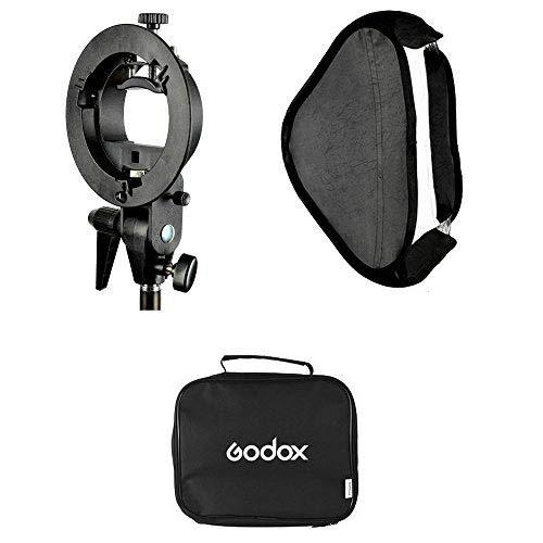 Godox 24x24inch/ 60x60cm Portable Rectangular Softbox Reflector Bowens Mount with Softbox Bag +S Type Flash Bracket for Studio Strobe Photo Flash Speedlight