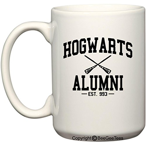 h0gwarts Alumni Wizard Inspired Funny Coffee Mug Wizard Office Tea Cup by BeeGeeTees (White, 15 oz) ()