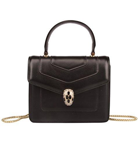 Handbag Genuine Women's Qidell bag And Black Snakehead Handle Leather Purses Top Hobo qUY6Ed6x