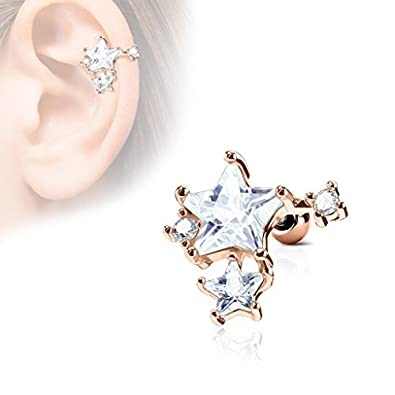 Covet Jewelry CZ Stars Cluster Top 316L Surgical Steel Ear Cartilage Barbell Studs
