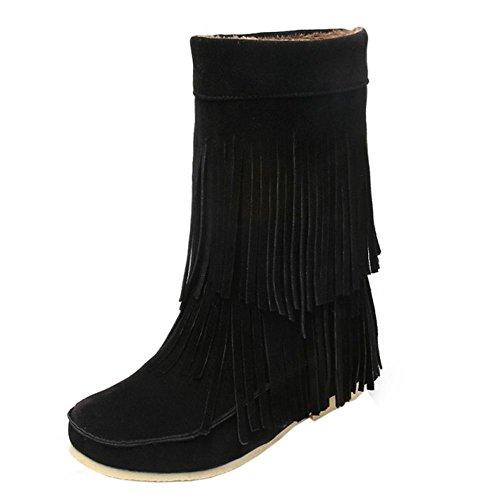COOLCEPT Mujer Casual Botas Sin Cordones Zapatos Media Pierna Calentar Black