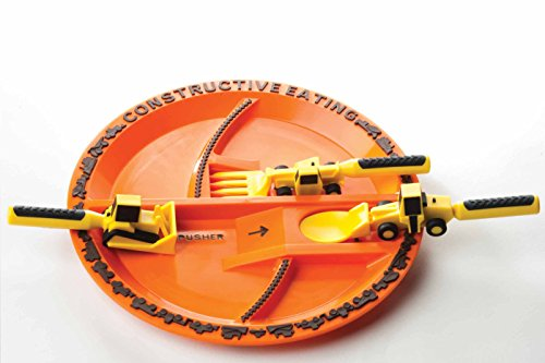 Constructive Eating - Construction Utensil Set with Construction Plate 1 Engraved with a laser - No machinery touches plate surface Set comes with Construction Plate plus 3 Construction Utensils Makes eating fun for kids so theyll want to eat their vegetables!