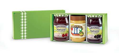 Smucker's Natural Fruit Spreads & Jif Natural Peanut Butter, Variety Pack of 3, (Smucker's Natural Blackberry, Smucker's Natural Red Tart Cherry,  Jif Natural Creamy Peanut Butter), Gift Box - Cherry Spread Black Fruit