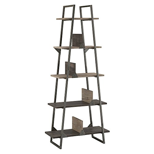 Bush Furniture Refinery A Frame Etagere Bookshelf in Rustic Gray