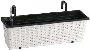 Jardinera para balcón de polyrattan incluye suspensión y sistema de riego, blanco, 60 x 19 x 18 cm