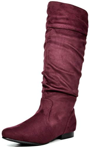 DREAM PAIRS Women's BLVD Burgundy Knee High Pull On Fall Weather Boots Wide Calf Size 10 M US