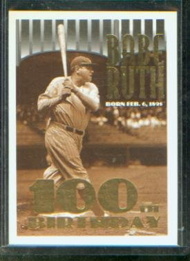 Babe Ruth 1995 Topps Baseball Commemorative Card 3 100th Birthday New York Yankees Hall Of Fame