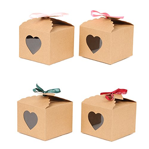 YuXiang Kraft Boxes with Tags and Ribbons for Gift Cupcake Candy Treat Holiday Party Birthday Favor 5x5x4 inch (Set of 20) Brown Cake Favor Boxes