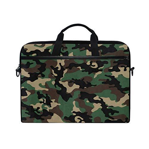 Camouflage Millatry Print 14 15inch Laptop Case Laptop Shoulder Bag Notebook Sleeve Handbag Computer Tablet Briefcase Case Cover with Shoulder Strap Handle for Men Women - Dadgear Mens Messenger