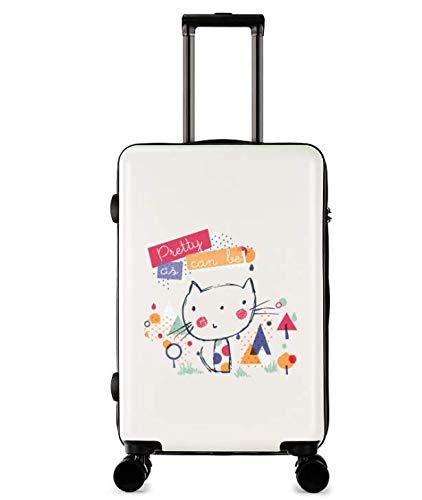 ユニバーサルホイールトロリーケースラゲッジスモールフレッシュ24インチスーツケース (Color : White2) B07MGFWKG4