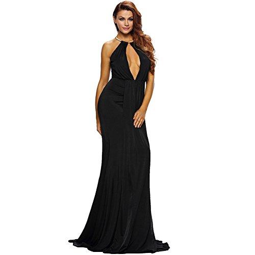 vestido Rocío Maxi de elegante Black MEI Noche vestido fiesta Larga Prom mujer amp;S La vuelve InCCwP8q