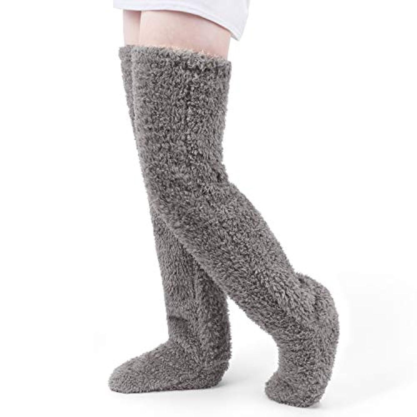 ストレンジャージェーンオースティン熱心な極暖 足が出せるロングカバー HIMETSUYA ルームシューズ ルームソックス あったかグッズ ロングカバー 冷え性 靴下 ソックス 足の大きさ23~26.5cmまで (グレー)