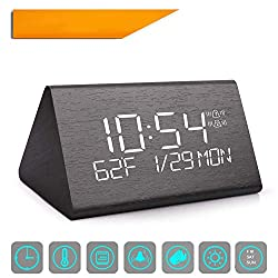 Yeslike Digital Alarm Clock Adjustable Brightness Voice Control Desk Wooden, Large Display Time Temperature USB/Battery Powered, Black