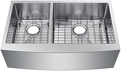 Starstar 33 Inch Undermount Farmhouse Apron 40 60 Double Bowl 16 Gauge Stainless Steel Kitchen Sink with Accessories