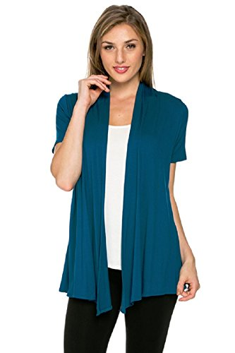 Viosi Women's Short Sleeve Draped Open Front Cardigan,Teal M
