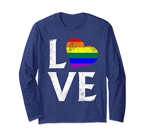 (Unisex LGBT Gay Pride Flag Heart Stacked Love Long Sleeve T-Shirt Small Navy)