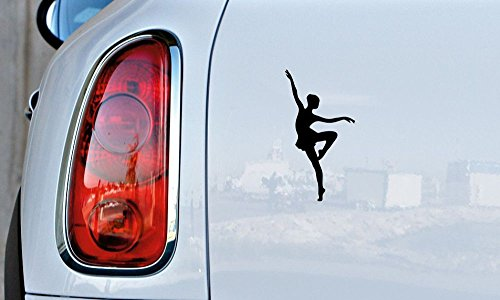 Ballerina Dancer Silhouette Version 17 Car Vinyl Sticker Decal Bumper Sticker for Auto Cars Trucks Windshield Custom Walls Windows Ipad Macbook Laptop and More (BLACK)