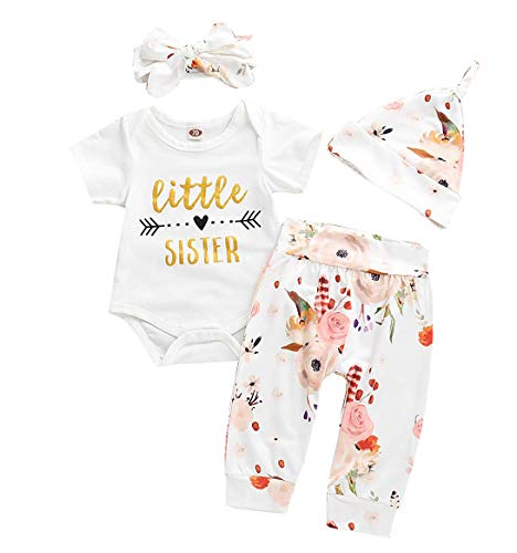 (SWNONE Little Sister Newborn Outfit Bodysuit Tops Floral Pants Bowknot Headband Hat Outfits Set (Little Sister Short Sleeve, 6-9 m))