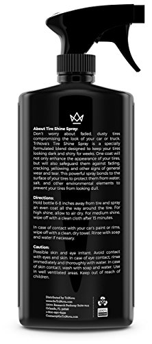 TriNova Tire Shine Spray No Wipe - Automotive Clear Coat Dressing for Wet & Slick Finish - Keeps Tires Black - with Rubber Protector - Prevents Fading & Yellowing - 18 OZ
