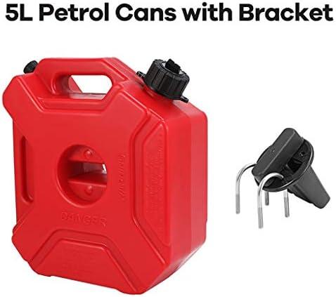 3L / 5L燃料タンク、プラスチック製ガソリン缶、マウントオートバイの予備ジェリカンガソリン・オイルコンテナフューエルキャニスター (Size : 5L+brackets)