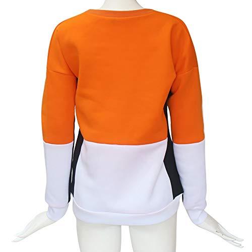 Felpe Arancione Da Patchwork Girocollo XH12 Donna Mambain Eleganti 1OwxdZax