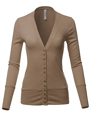 Causal Button Long Sleeves Everyday Cardigan Mocha 2XL (Cable Long Sleeve V-neck Sweater)