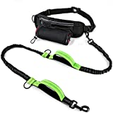 Reflective Hands Free Dog Running Leashes Large Medium Dogs Heavy Duty Pet Lead, Double Handle/Bungee Multifunctional Adjustable Waist Bag/Belt Puppy Training/Walking Water Bottle Holder